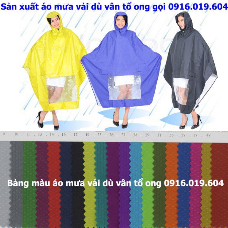 sản xuất áo mưa cánh dơi vải dù vân tổ ong siêu nhẹ