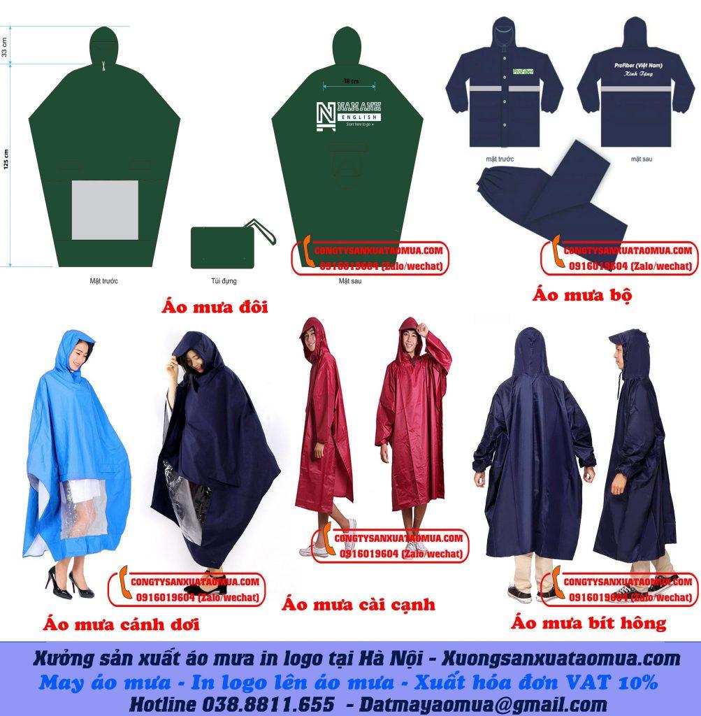 Xưởng may áo mưa, xưởng sản xuất áo mưa in logo tại Hà Nội