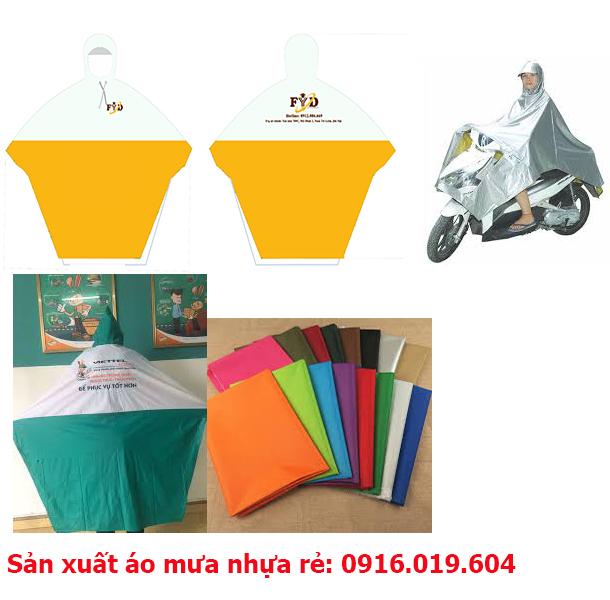 Áo mưa cánh dơi vải nhựa được dán bằng máy ép cao tần, có giá rẻ chỉ từ 20,000đ - 45000đ/ áo.