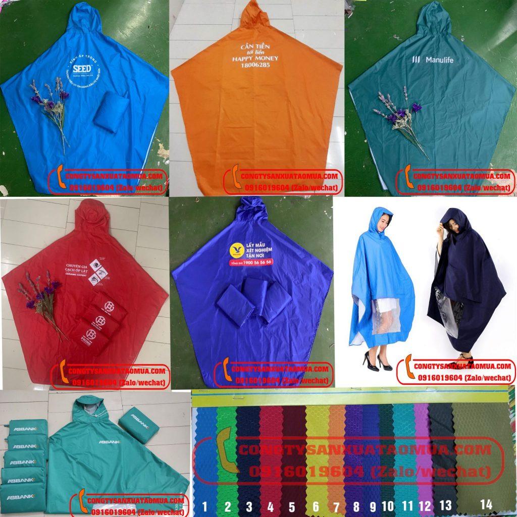 038.8811.655 - Xưởng sản xuất áo mưa có cơ sở trực tiếp cắt may áo mưa, dán áo mưa và in logo lên áo mưa. Đảm bảo giá áo mưa rẻ, chất lượng in tốt, bền màu.