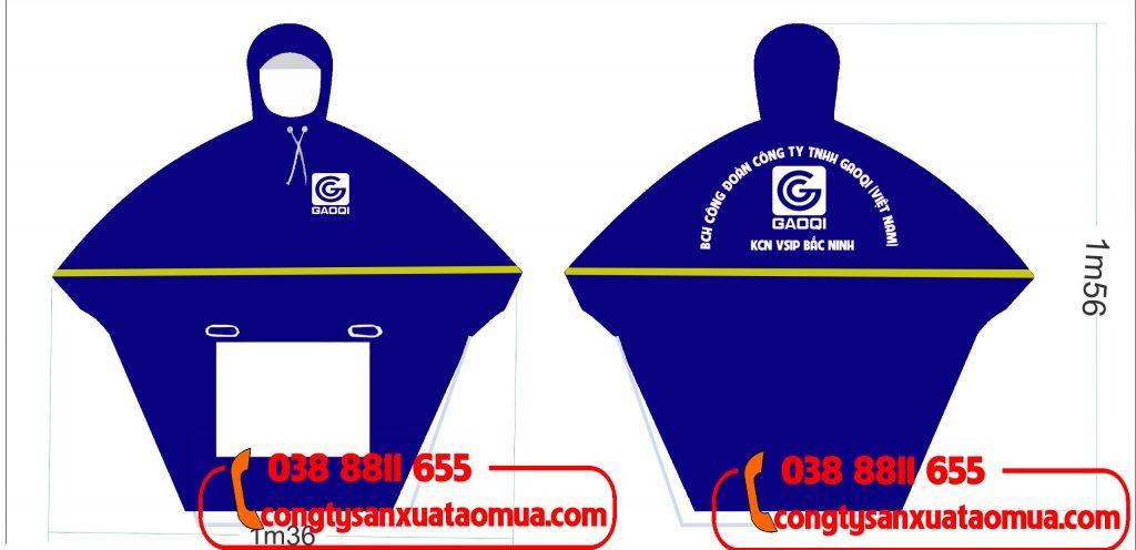 Sản xuất áo mưa có in logo và gắn phản quang lên áo mưa cho công ty Gaoqi địa chỉi KCN Vsip(  Bắc Ninh)