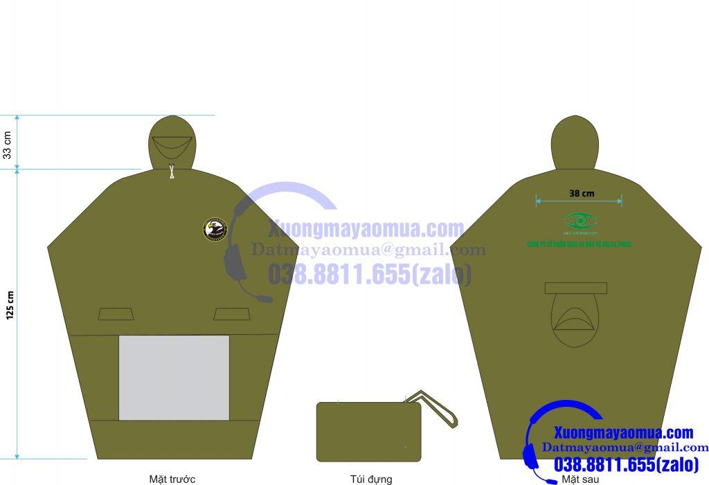 Sản xuất áo mưa cánh dơi 2 đầu quà tặng của công ty bảo vệ Delta Force TP Bắc Ninh